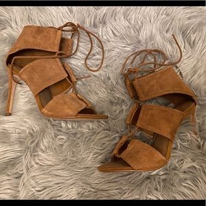 Zara Basic Collection Faux Suede Lace Up Heels